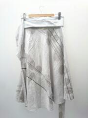 ロングスカート/1/コットン/グレー/レディース/巻きスカート/ナチュラル