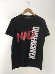 Tシャツ/M/コットン/ブラック/MAD/クルーネック/プリントt/文字プリント/背面無地