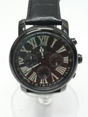 クォーツ腕時計/アナログ/レザー/BLK/NDC13WH003CG