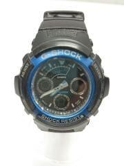 クォーツ腕時計/デジアナ/ラバー/ブラック/AW-591/G-SHOCK/