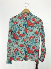 長袖シャツ/38/シルク/ブルー/総柄/シルクシャツ/タグ付/花柄/イタリア製