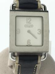 クォーツ腕時計/CA.31.7.14.0389/アナログ/レザー/ホワイト/ブラック/ベルト劣化
