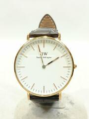 ダニエルウェリントン腕時計/アナログ/DW00100038/レザー/CRM/BRW
