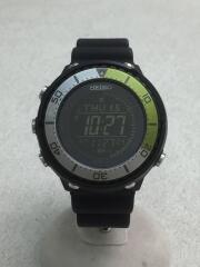 ソーラー腕時計/デジタル/ラバー/BLK/S802-00J0/SEIKO
