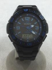ソーラー腕時計/デジアナ/ラバー/BLK