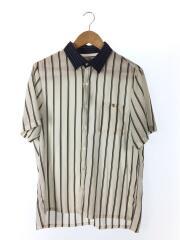 半袖シャツ/ストライプクレリックハーフスリーブシャツ