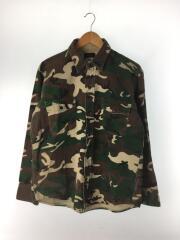 DEERSKIN/70S~80S/USA製/シャモアシャツ/長袖シャツ/L/コットン/KHK/カモフラ
