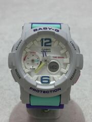クォーツ腕時計/デジタル/ラバー/WHT/GRN/BGA-180