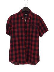 半袖シャツ/S/コットン/RED/チェック/ショートスリーブ/中古/古着/セカスト/ストリート/ルード