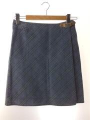 スカート/38/コットン/BLU/チェック/巻きスカート/タイト/ バーバリーブルーレーベル/使用感