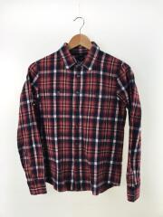 ネルシャツ/S/コットン/RED/チェック/長袖シャツ
