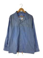 COACH SHT W/R ST/コーチジャケットシャツ/M/コットン/ブルー/ストライプ