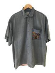 オープンカラーシャツ/4/ブルー/バックプリント