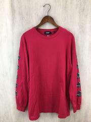 BEHIND OG/長袖Tシャツ/ロンT/袖プリント/L/コットン/レッド/01193110