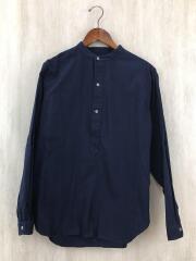 バンドカラーOXシャツ/長袖シャツ/M/コットン/ネイビー/L18AW-183