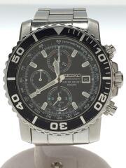 クォーツ腕時計/クロノグラフ/アナログ/ステンレス/ブラック/シルバー/7T62-0CV0