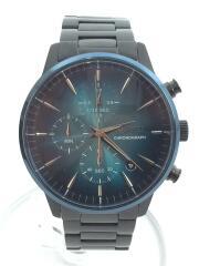 クォーツ腕時計/アナログ/ステンレス/クロノグラフ ブラック