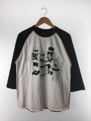 長袖Tシャツ/M/コットン/WHT/白/黒/ラグラン/7分袖/ラグランスリーブ/7分カットソー
