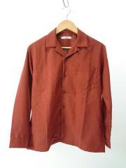 オープンカラーロングスリーブシャツ/長袖シャツ/M/ポリエステル/ORN/無地/橙色/開襟
