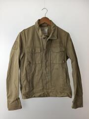 ミリタリージャケット/M/コットン/BEG/無地/後ろ襟、ポケット端、袖周りダメージ有