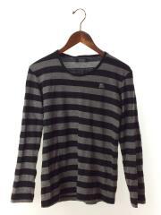 セーター(薄手)/2/ウール/BLK/ボーダー/黒/灰色/グレー/D1P92-252-09