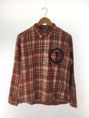 ネルシャツ/S/コットン/RED/チェック/赤/B.D.SHIRTS/ボタンダウンシャツ/胸ジップ