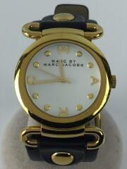クォーツ腕時計/MBM1304/アナログ/レザー/ホワイト/ブラック/ゴールド