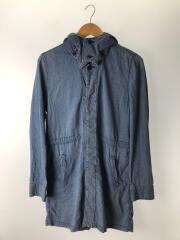 襟フラワースタッズフーディコート/ショップコート/M/コットン/IDG/藍色/刺繍