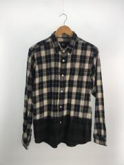 ネルシャツ/M/コットン/NAVY/ネイビー/紺/BLACK/ブラック/黒/チェック/バイカラー