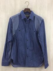 MEDICAL SHIRT/メディカルシャツ/長袖シャツ/48/コットン/IDG/藍色/切り替え