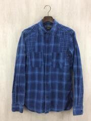 MEDICAL SHIRT CHECK/長袖シャツ/48/コットン/IDG/チェック/藍色/日本製