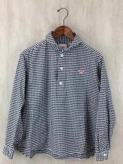 オックスフォード丸襟プルオーバーシャツ/長袖シャツ/36/コットン/BLK/ギンガムCK/白/黒