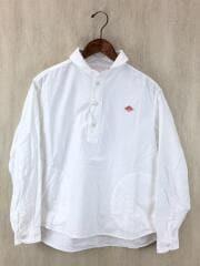 オックスフォード丸襟プルオーバーシャツ/長袖シャツ/36/コットン/WHT/無地/白