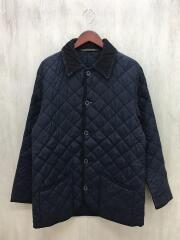 キルティングジャケット/40/ナイロン/BLK/黒/襟白茶け