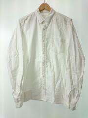 長袖シャツ/3/コットン/WHT/無地/白/リブシャツ/MA-1シャツ/ドッキングシャツ/SCM-013