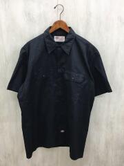 半袖シャツ/XL/ポリエステル/BLK/無地/黒/ワークシャツ