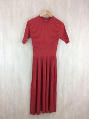 17AW/PLEATS KNIT ONE PIECE/プリーツニット半袖ワンピース/1/レーヨン/RED