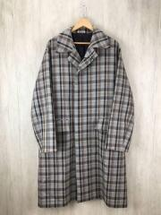 19AW/DOUBLE FACE CHECK SOUTIEN COLLAR COAT/コート/5/ウール/GRY