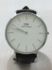 クォーツ腕時計/アナログ/レザー/WHT/BLK/ベルト使用感有
