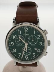 Weekender Chrono/TW2P97400/クォーツ腕時計/アナログ/レザー/GRN/BRW