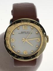 Amy/MBM8574/クォーツ腕時計/アナログ/レザー/WHT/BRW/ベルト使用感有