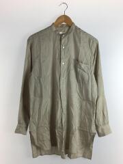 18SS/バンドカラーシルクシャツ/1/シルク/BEG/ストライプ