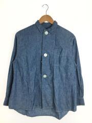 Big Button Commercial Shirt/長袖ブラウス/コットン/BLU/8005BB