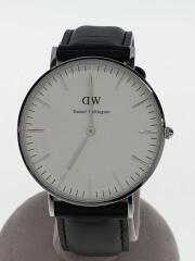 クォーツ腕時計/アナログ/替えベルト付/レザー/WHT/BLK