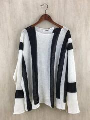 20SS/Stripe Knit/sl-k07-840/長袖Tシャツ/M/コットン/WHT/ストライプ