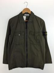 Garment Dyed Zip Shirt/M/コットン/KHK/パッチ付