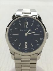 ソロテンポ/クォーツ腕時計/アナログ/ステンレス/ブラック/シルバー/ST37BSS