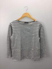 ボートネックカットソー/長袖Tシャツ/4/コットン/GRY/ボーダー/RC-6973