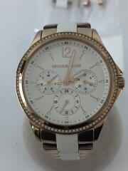 クォーツ腕時計/日付/アナログ/ステンレス/WHT/ピンクゴールド/MK-6692