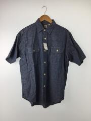シャンブレー半袖ワークシャツ/XL/コットン/BLU/SC35874